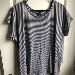 Gray and white striped shirt